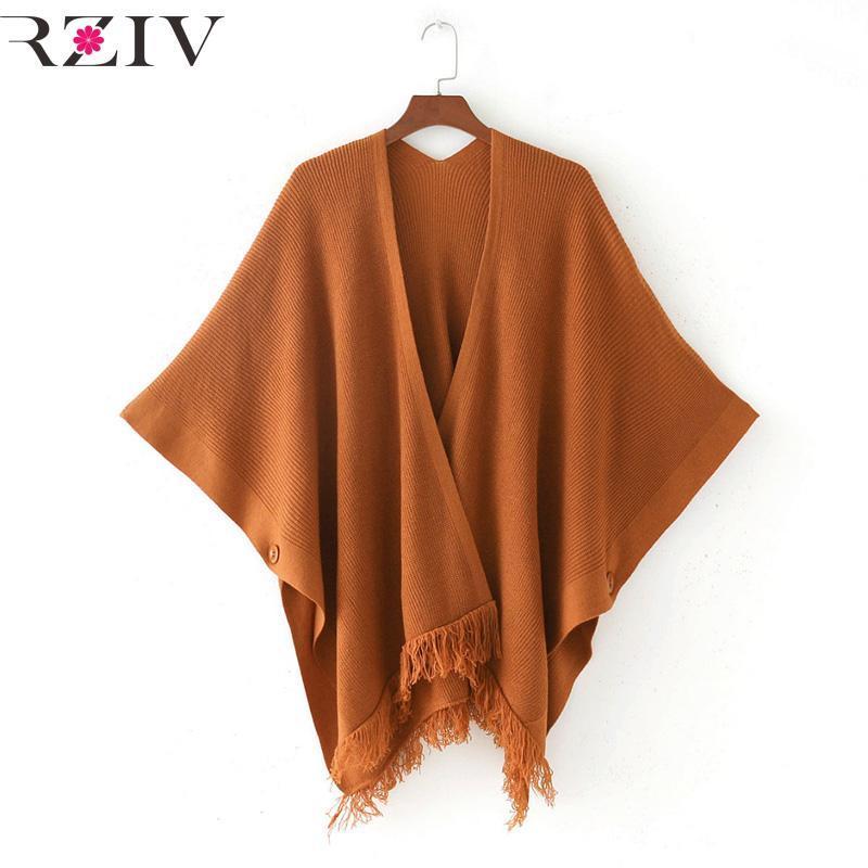 Malhas das Mulheres Tees Rziv Mulheres de Outono Cardigan Sweater e V Neck Feminino Feminino Solto Casaco De Shawl Cloak