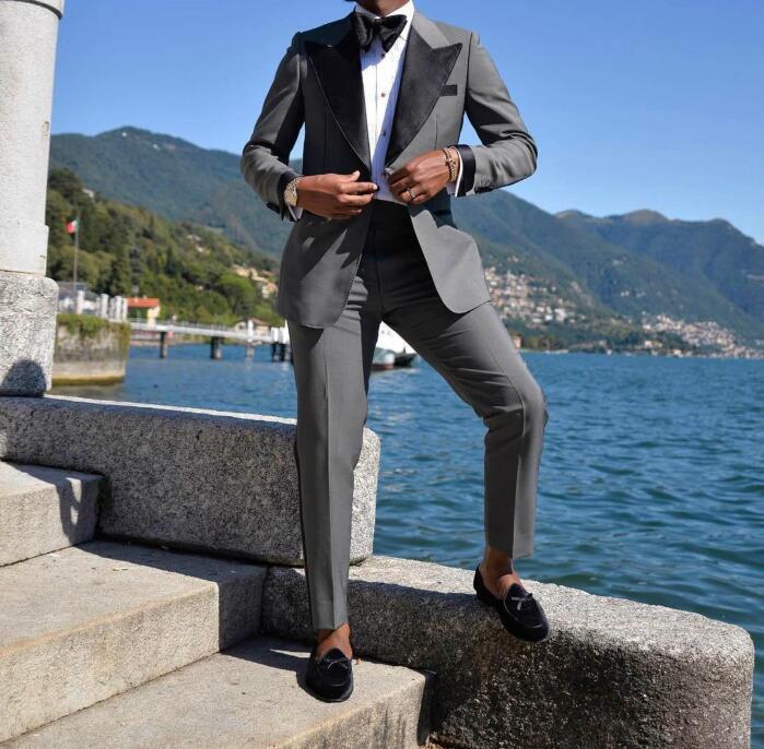 Bräutigam tragen Spitzener Revers für Hochzeit Tuxedo Mode Männer Jacke Blazer Business Prom Dinner Party Anzug (Jacke + Hosen + Bogen) Slim Fit 2022