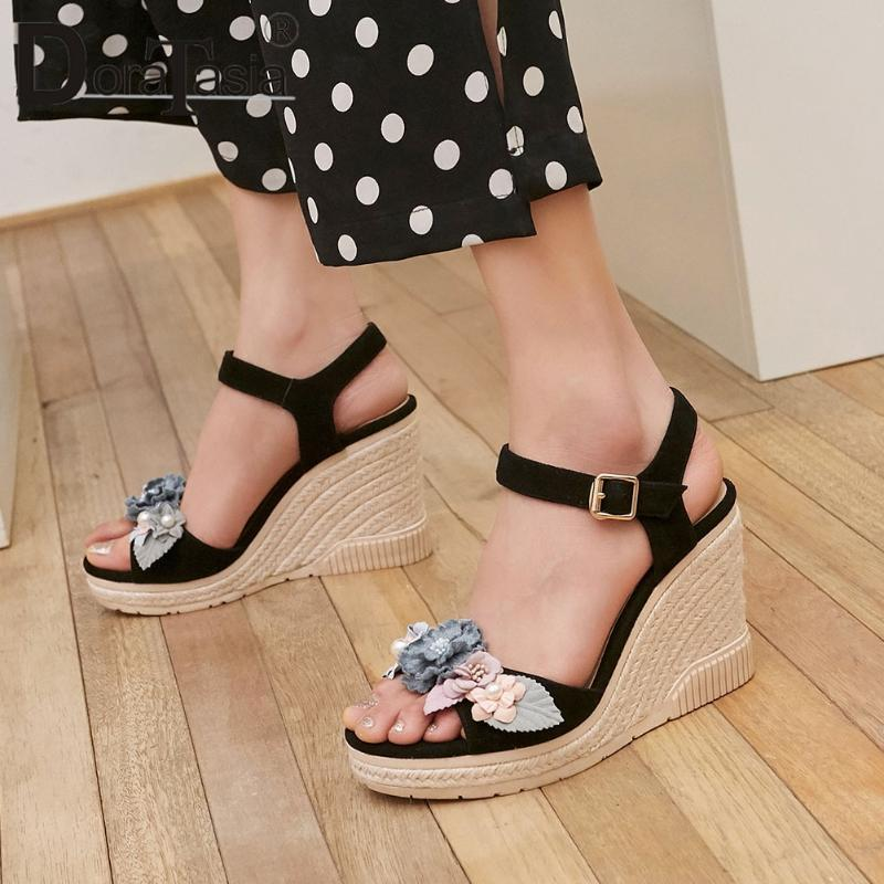 Fashion Genuine Leather Lady Sandals 2021 Party Casual Sexy Women Floral Platform Wedges Shoes Woman
