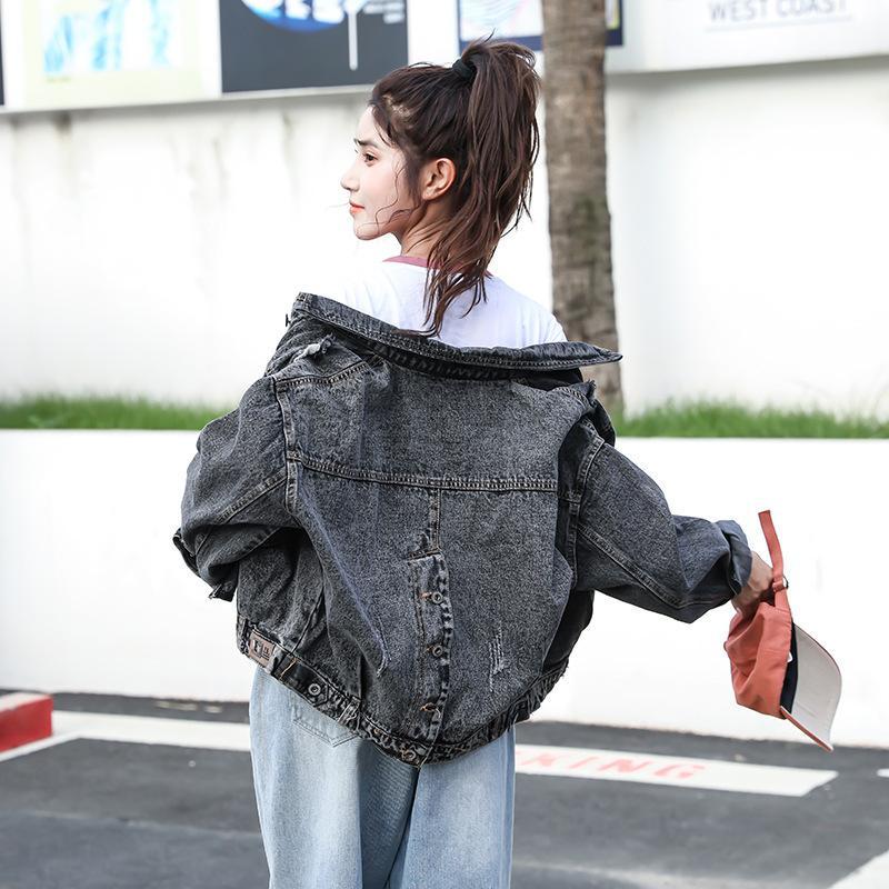 Spring Split Back Denim Chaqueta de la chaqueta BF suelta de las mujeres Top versátil