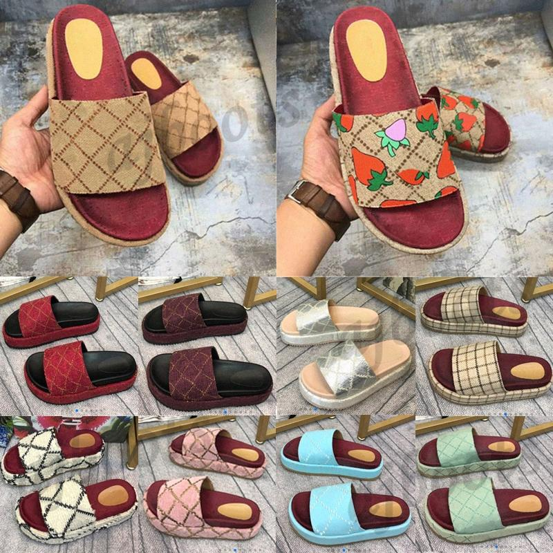 2021 Mujeres clásicas Sandalias Lady Slipper Plataforma Slippers Sandals Soltanes Strawberry Cotton Summer Party Playa 5 cm zapatos de diseño plano WIONS6 #