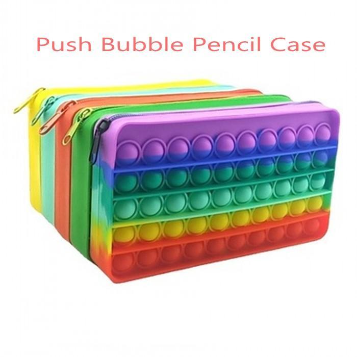 Fidget Oyuncaklar Kalem Kutusu Renkli İtme Kabarcık Duyusal Squishy Stres Rahatlatıcı Otizm Çocuklar Için Anti-stres Gökkuşağı Yetişkin Oyuncak