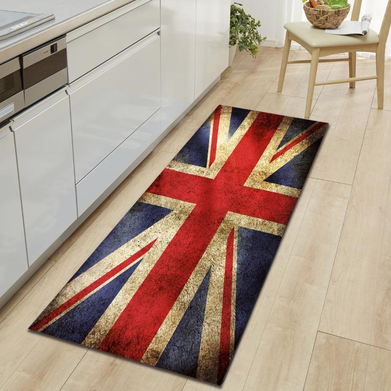 Flag Retro Imprimir Modernas Modernas Tapetes Longo Tapetes de Entrada Entrada Tapete de Cozinha 60 * 90 cm 40 * 120 cm 60 * 180cm Tapetes de esteira de banho