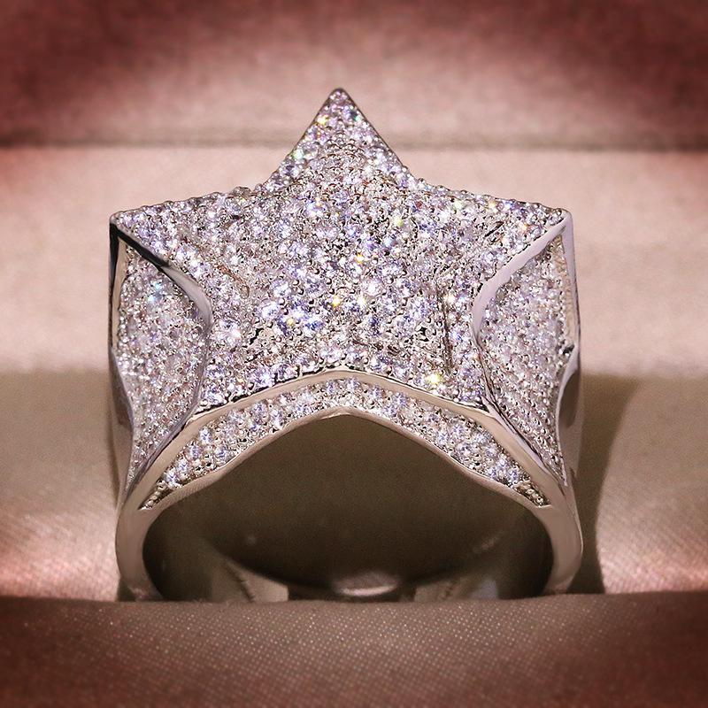 100% S925 color sterlina 2 carati anello diamante donne hip-hop anillo argento 925 anelli di gioielli anilos de bizuteria