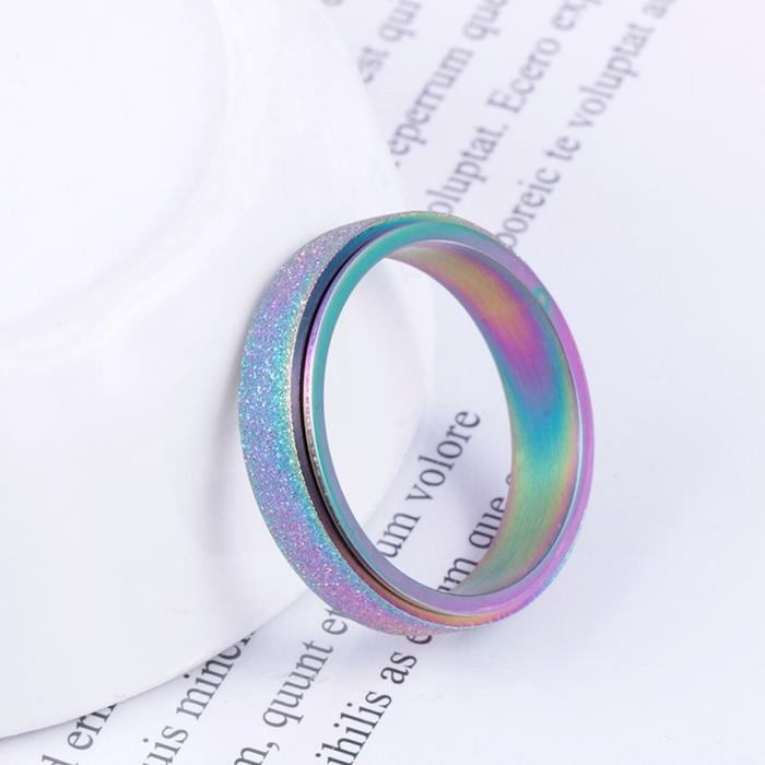 Drehbare band ringe edelstahl gold regenbogen finger rotierender drehender drehender ring für frauen männer modeschmuck Wille und sandig