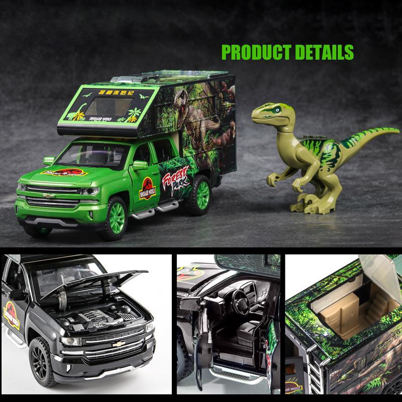 132 Solander Dinosaur Tyrannosaurus Camion Modello Simulazione in lega di metallo auto Tirare indietro Giocattoli Regali per bambini Collezione per bambini