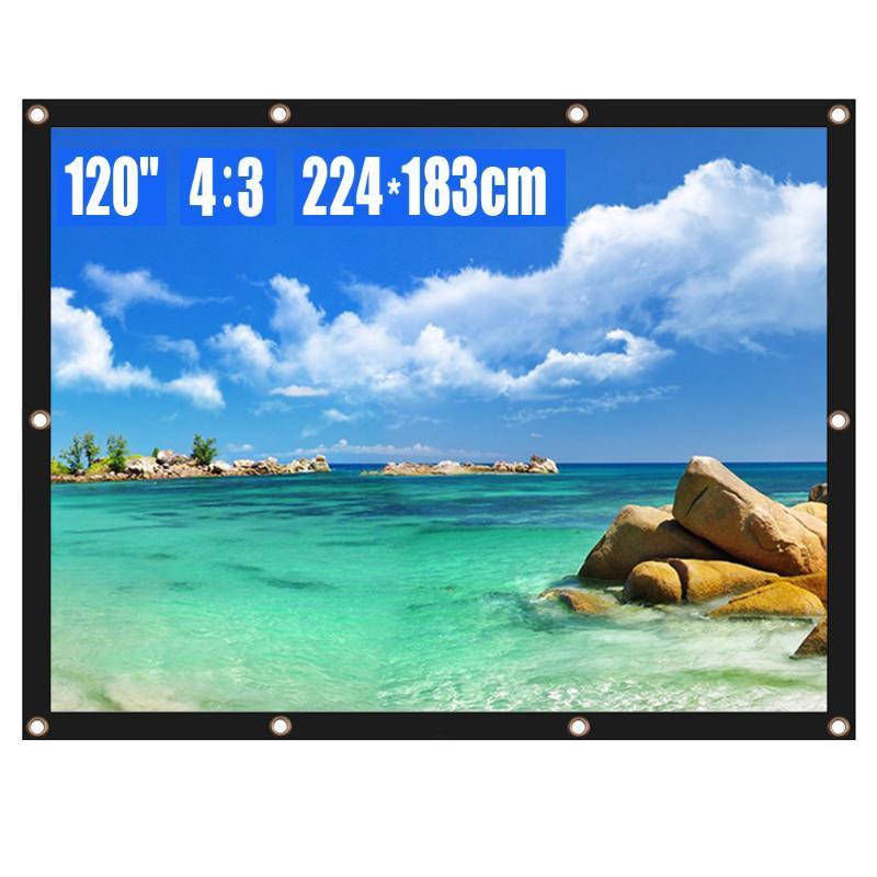 Écran de projection Écran de projecteur 120 pouces 4: 3 HD Films portables pliables pliables pour le bureau de théâtre à la maison Outdoor intérieure
