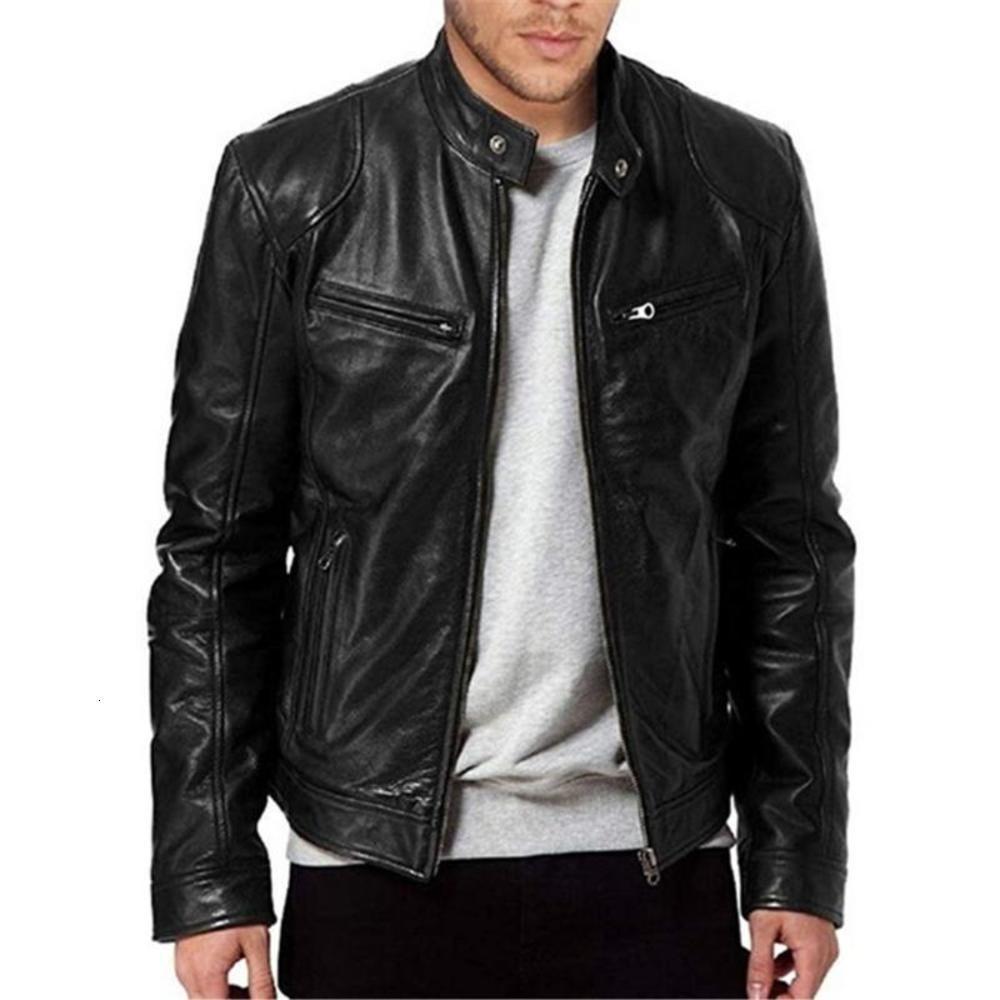 Hommes Cuir Cuir Veste Hiver Vintage Black Zipper Noir Mâle Moto Bombardier Jacket Streetwear Poche Collier Hommes Cuir manteau