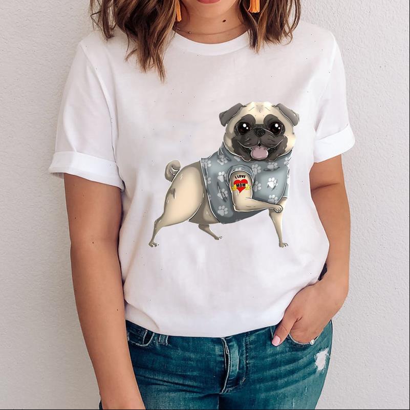 Frauen Graphic Womens Tops Hundekarikatur Haustier Süßes Tier Druck Casual 90er Jahre Kleidung Dame Tees Drucken Kleidung Weibliche T-Shirt T