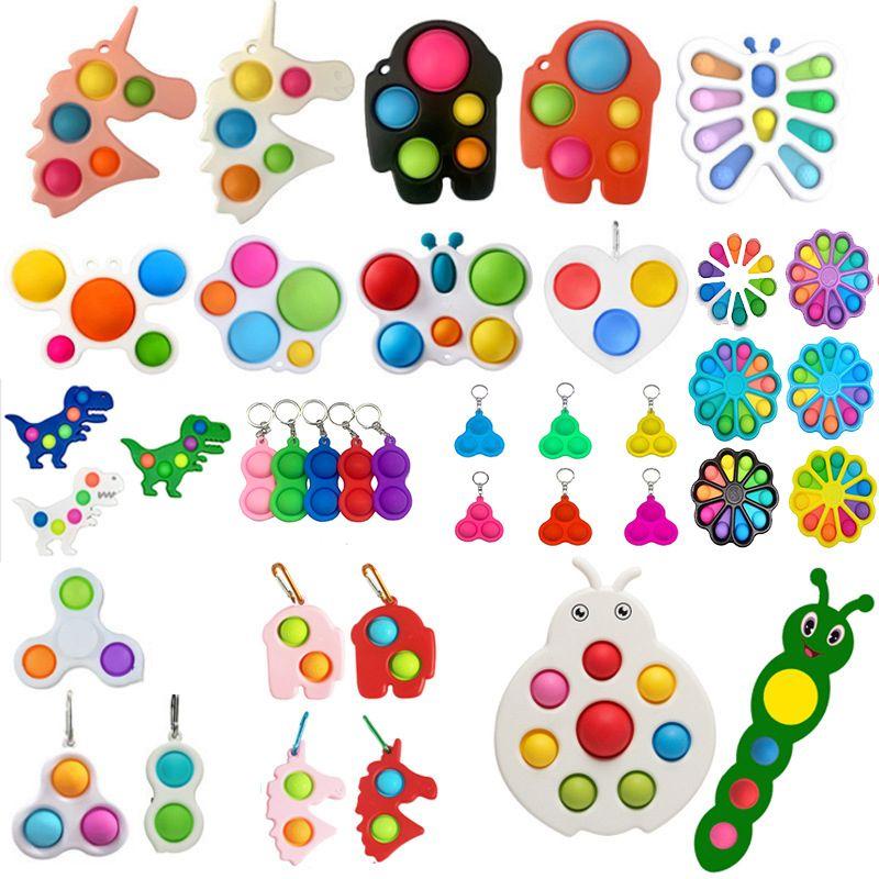 Fidget Toys Sensory Coloré Simple Dimple Keine Bague Poussoir Poppers Bubble Poppers Squeeze Boules Keychain Unicorn Papillon Bubbles Unzip Surprise Fige Fige en gros