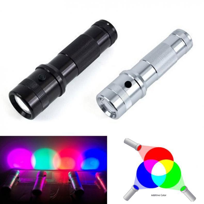 ColorShine Couleur Changement de lampe de poche RGB LED 3W Alliage d'aluminium RGB Edison LED Multicolore LED RAINBOW DE 10 COUCHES TORCH 210322