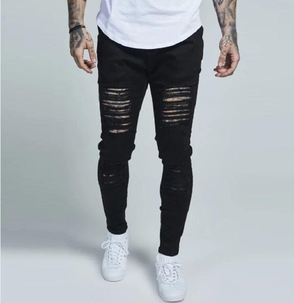 Pantalon long Jeune pantalon crayon denim pantalon street élastique noir trous lavé mode décontracté mode hip hop lavé pantalon mâle