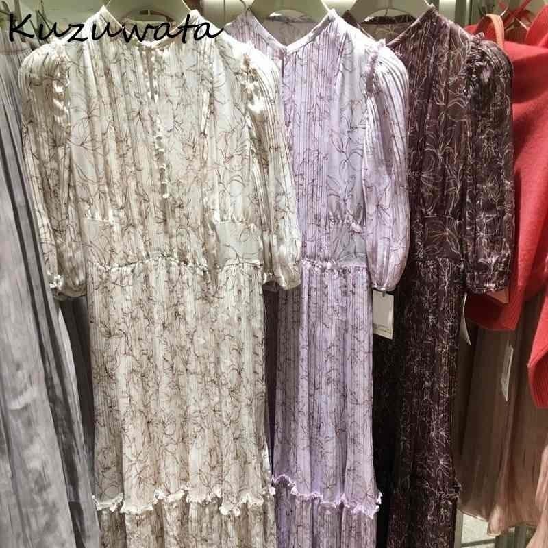Kuzuwata Spring Summer Sweet Flower Flower Vestidos de impresión elegante con cordón plisado mujeres vestido de cintura alta imitación de seda Vestidos 210329