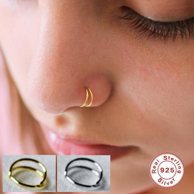 Canner oro / plata anillo de la nariz para las mujeres Pendientes simples 925 Piercing de plata esterlina Pendientes Huggie Pendientes Soporte al por mayor Hoop