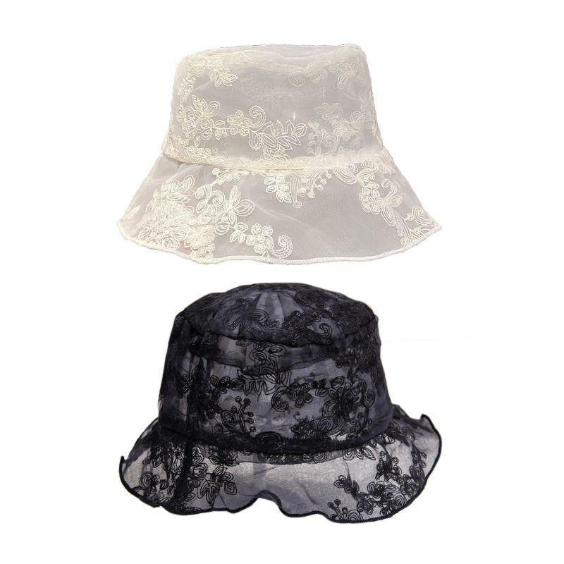 Donne pizzo garza secchio cappello ricamo floreale ruffles bordo corto corriminato traspirante pescatore alla moda pescatore sole tappo largo cappelli da corn
