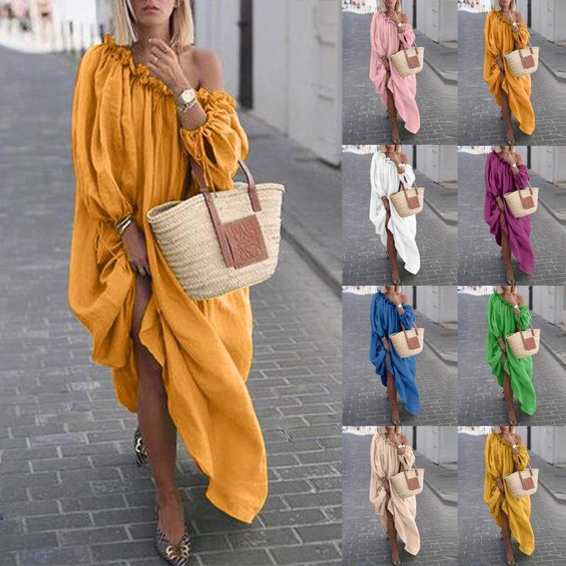 Женская Одежда Осень Boho Plus Размер платья СУЩЕСТВЕННЫЙ С Плечо Винтажное платье Свободные Maxi Халаты Vestidos Femme