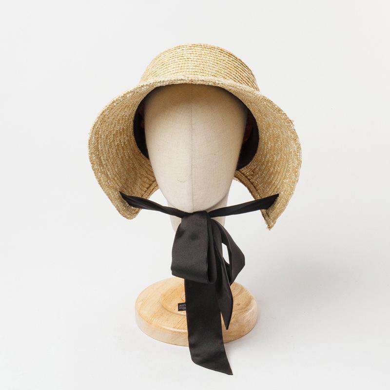 Sombrero de paja al aire libre de la cúpula al aire libre Linda mano de punto hechas de vendaje gorras de visor de verano para niños