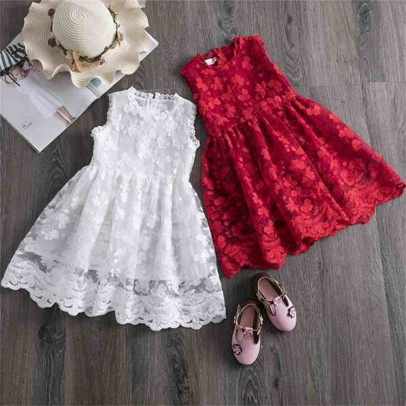 Girls Lace Dress Floral Flower Red Clothes Casual Clothing Party For 3-8 Years Christmas 210427