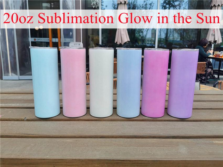 20oz Straight Glow in the Sun Tumbler 6 Colors Mugs Stainless Steel Double Vacuum Insulation Cups With A Sealing Lid And Plastic Straw Top Is Same As Bottom A14