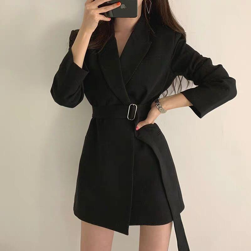 Fall 2021 Mew Women Blazer Coat Notched Collar Long Sleeve Belted Slim Autumn Casual Jacket Outfit High Quality Women's Suits & Blazers