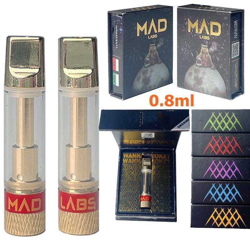 Nouveaux laboratoires Mad Vape Cartouches d'emballage Atomiseur 0.8ml Cartouche Verre en céramique Huile épaisse DAB Pen Stylo Cire Vaporisateur Chariots 5 cigarettes 510 Fil vide
