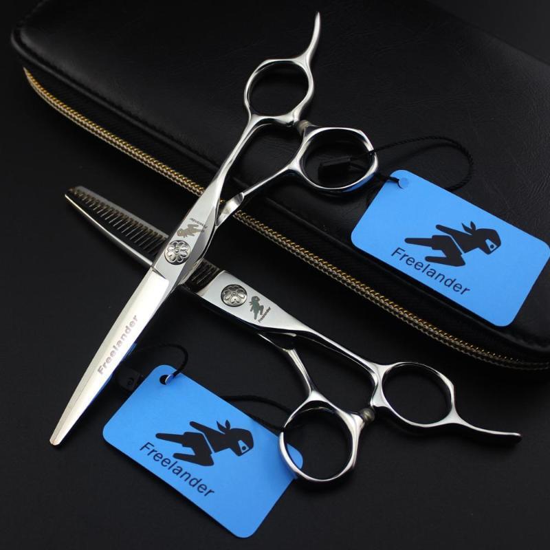 """6 """"Utangaç Profesyonel Paslanmaz Çelik Saç Makas Salon Kesme + İnceltme Kuaför Makası Düzenli Bıçak Styling Araçları"""