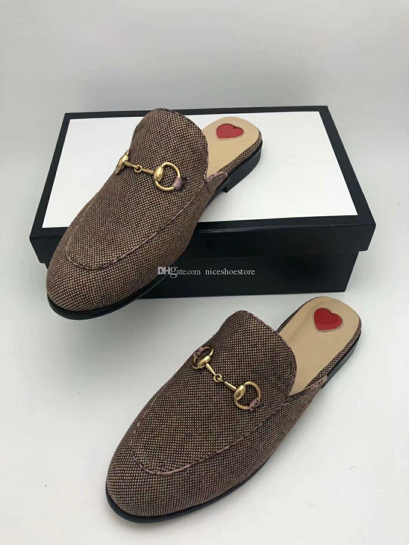 Tasarımcı 2021 Renk Princetown Loafer'lar Terlik Kadın Rahat Ayakkabı Erkek Deri Tuval Terlik Ayakkabı Loafer ile Toka Büyük Boy 34-46