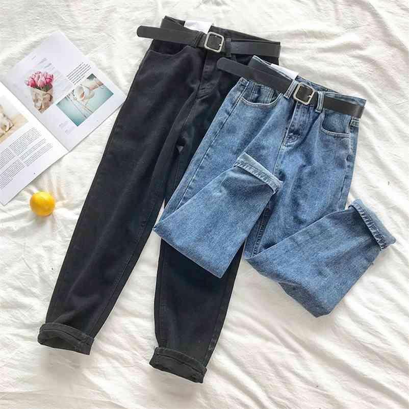 Calças de brim da cintura alta coreana Mulheres Cinto Sólido Harem Calças Solta Casual Plus Size High Street Denim Calças Pantalon Femme com cinto 210322