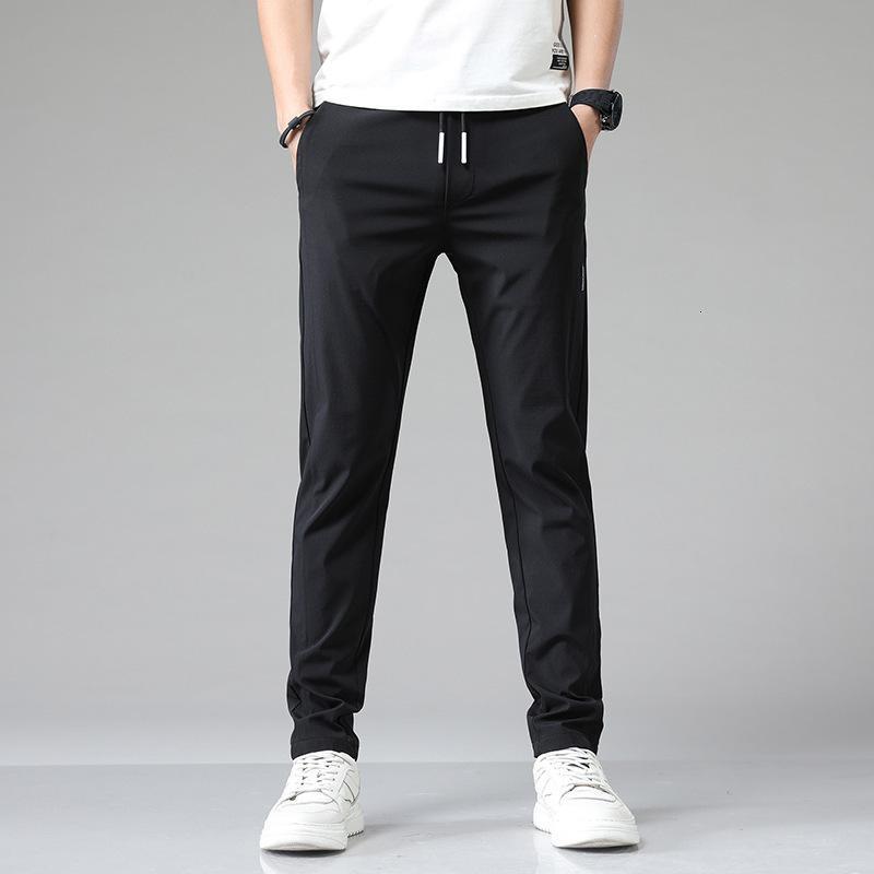 Verão fino gelo moda marca casual calça homens coreano tendência magro cordão elástico pequeno pé esportes pants0iu3