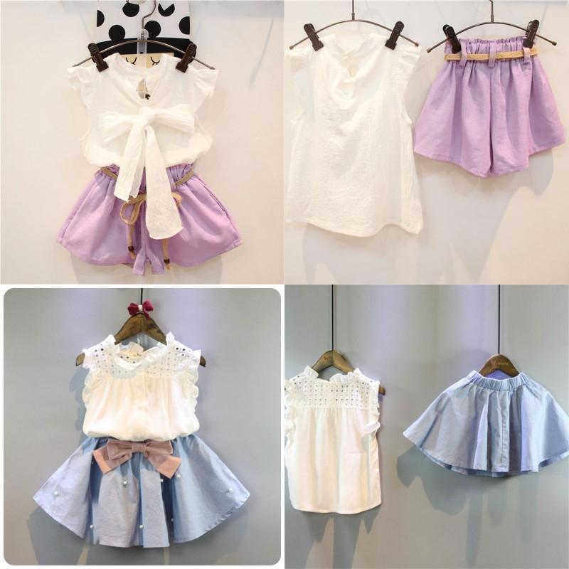 2-8 ans Vêtements enfants pour filles La jupe d'arc et la dentelle top suit style coréen style Vêtements pour enfants Ensembles bébé enfant en bas âge 2359 v2