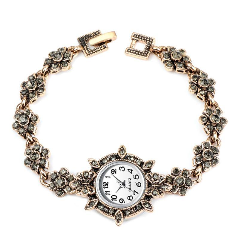 Altın Bilezik İzle Kadınlar Retro Lüks Saatler Zarif Kuvars Moda Küçük Dial Rahat Rhinestones Kol Saatı