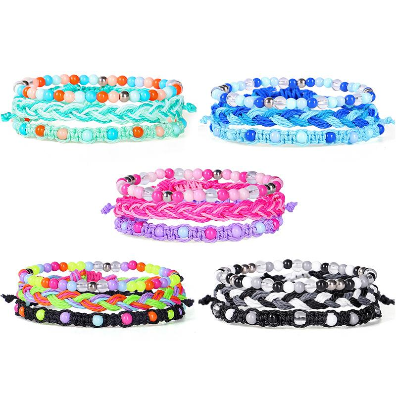 Wax Thread Colorful Bead Bracelet 3pieces/set Bohemian Handmade Waterproof Bracelets Summer Beach Jewelry