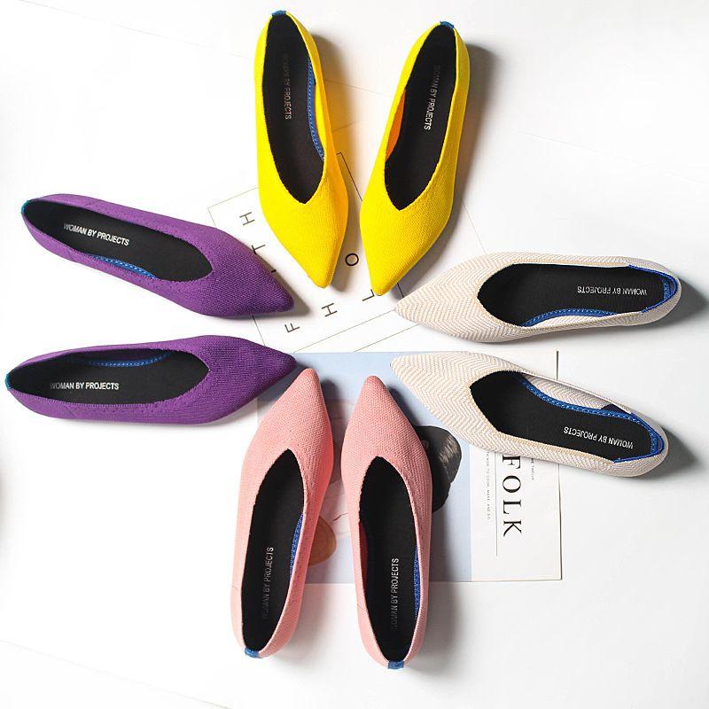 Kadınlar Düz Ayakkabı Zapatos De Mujer Sonbahar 2021 Loafer'lar Ballerine Femme Tenis Feminino Rahat Siyah Bayanlar için Sivri Burun Daireleri