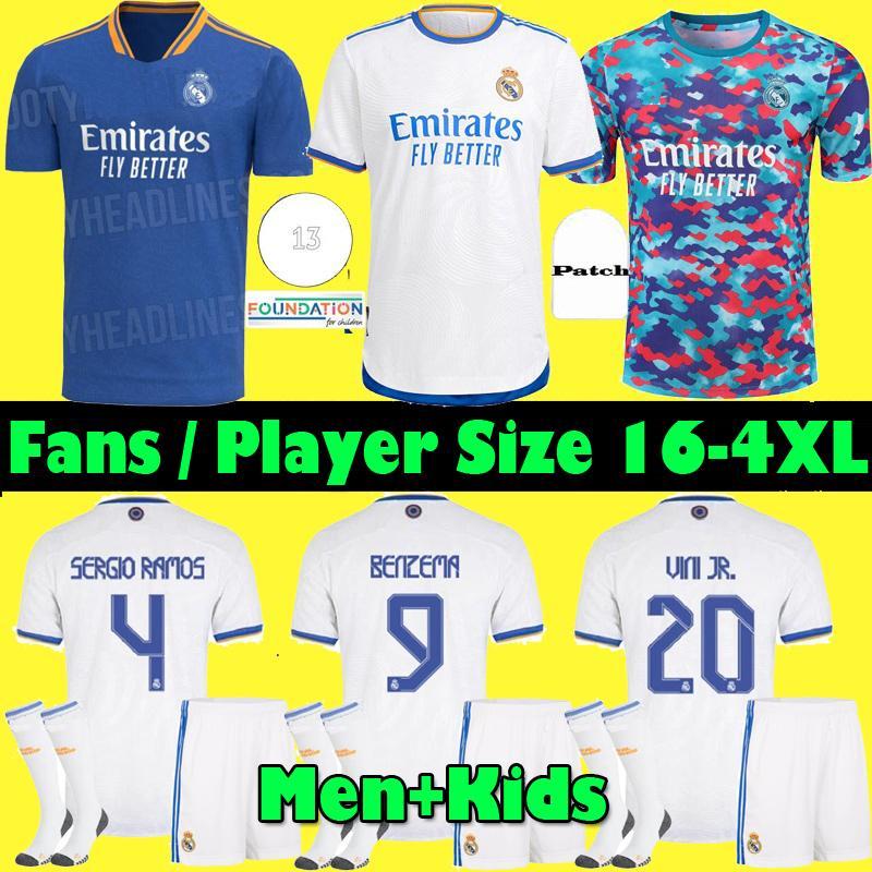 S-4XL ريال مدريد الفانيلة 21 22 لاعب + مروحة قميص كرة القدم لكرة القدم 2021 2022 Alaba Hazard سيرجيو راموس بنزيما Asensio Marcric Marcelo Camiseta Men + Kids Kit
