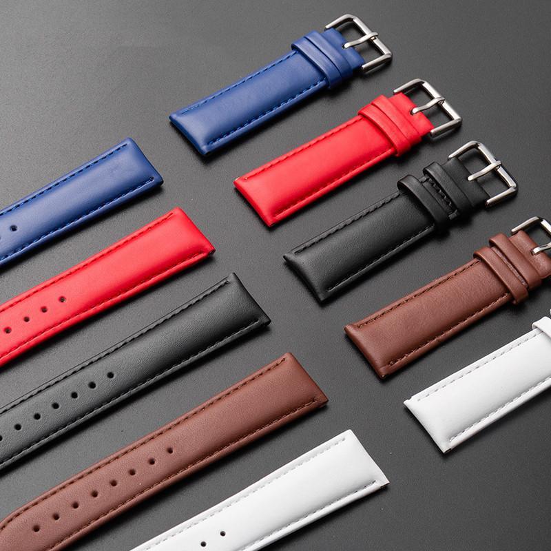 Bandes Haute Qualité En cuir véritable rouge 10mm12mm 14mm 16mm 18mm 20mm 22mm 22mm Hommes Watch Bands pour bracelet de montre DW femmes brun