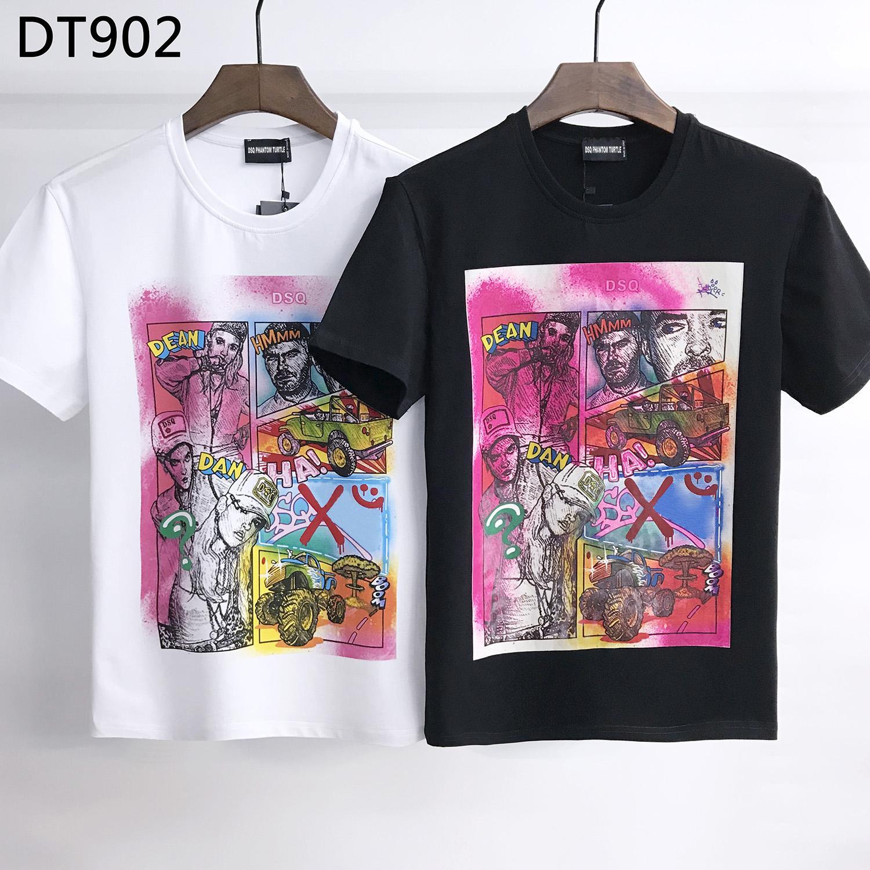 DSQ Phantom Turtle 2020SS New Mens Designer Camiseta Paris Moda Tshirts Verão DSQ Padrão T-shirt Masculino Qualidade superior 100% Algodão Top 6847