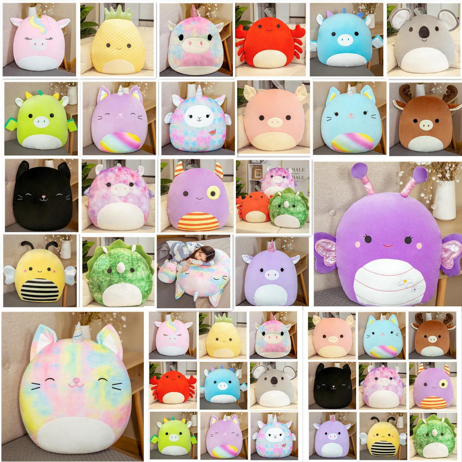 25-40 cm Squishmallow Dolls Twenty Styles Gummy Bambola colorata Unicorno Gatto Maiale Ape Dinosauro Cuscino Peluche Giocattolo Regalo di Natale