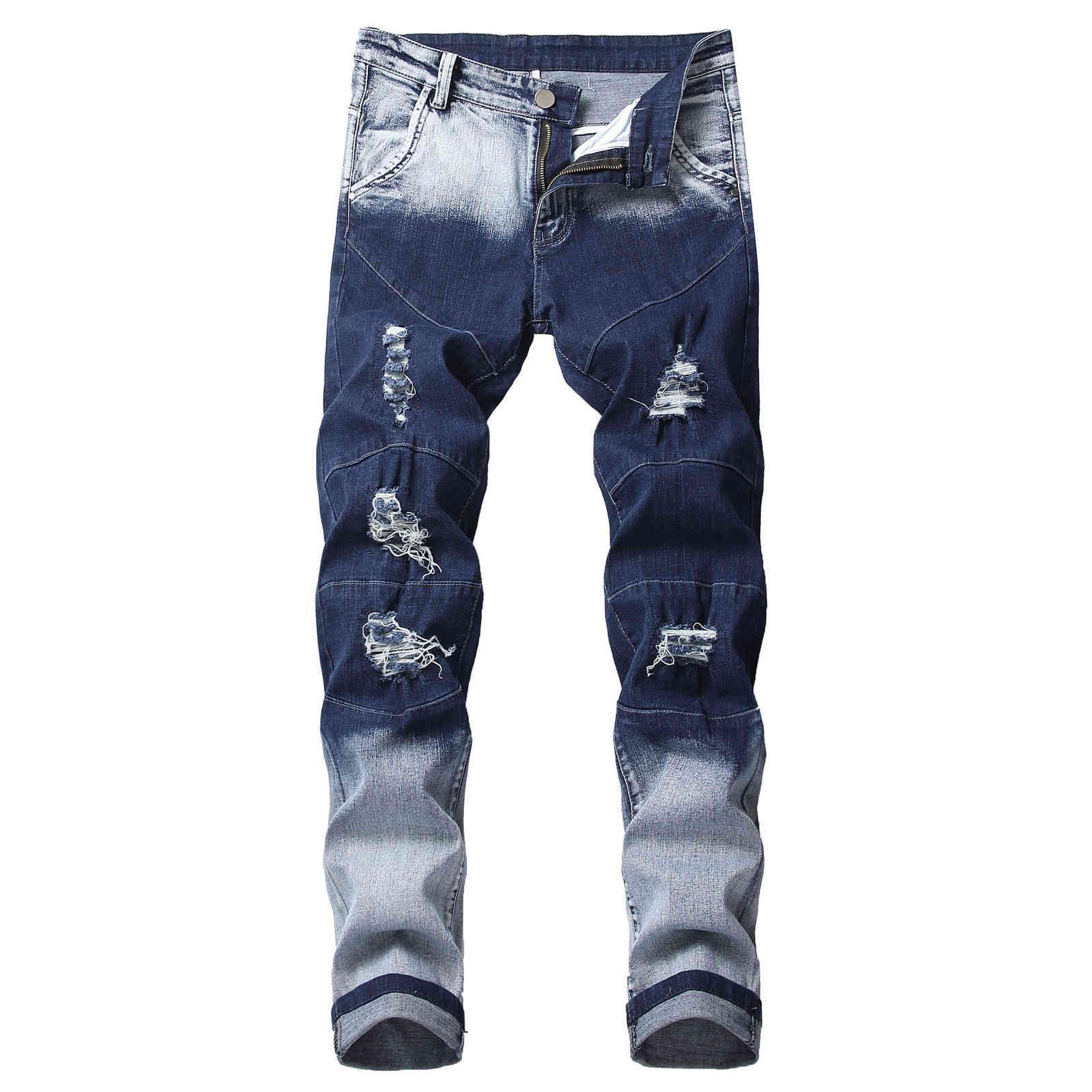 Homens jeans moda jeans homens reta escura azul cor impressa mens jeans rasgado algodão estilo de moda