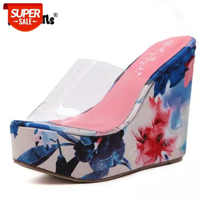 Dijigirls nova primavera 2018 mulheres chinelos cunha de verão sandálias mulheres transparentes geléia sapatos calcanhar 12.5cm alta laranja azul # mc8h
