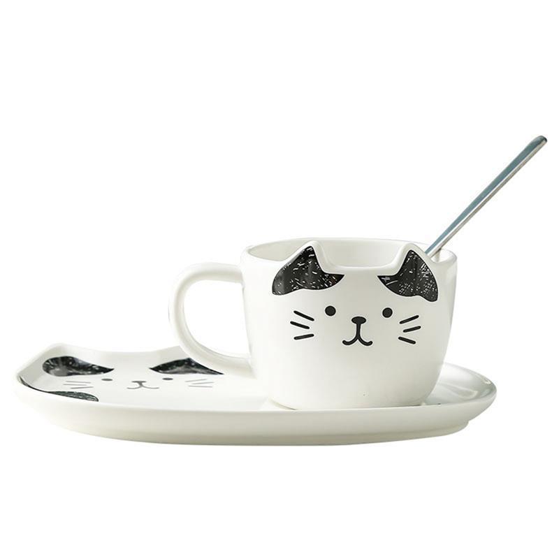 Cat Mug Set Funny Cartoon Cute Ceramic Coffee With Spoon & Saucer Mugs Milk Travel Cups Drinkware