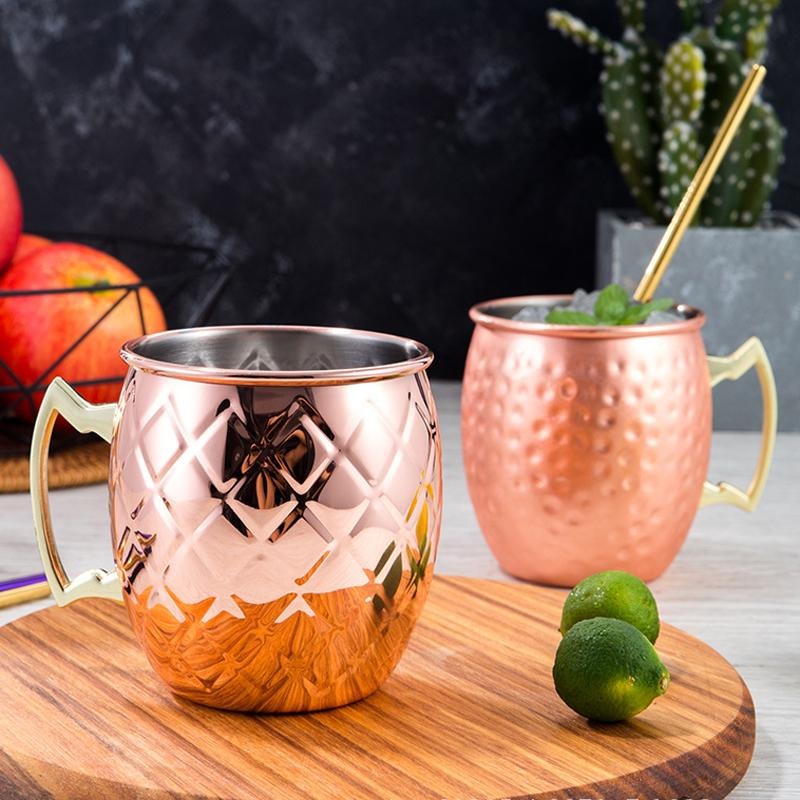 Moscow Mule Copper Mugs Fashion Creative Stainless Steel Cocktail Glass Cup Bar Party Fashion Beer Coffee Cups Mugs VTKY2252