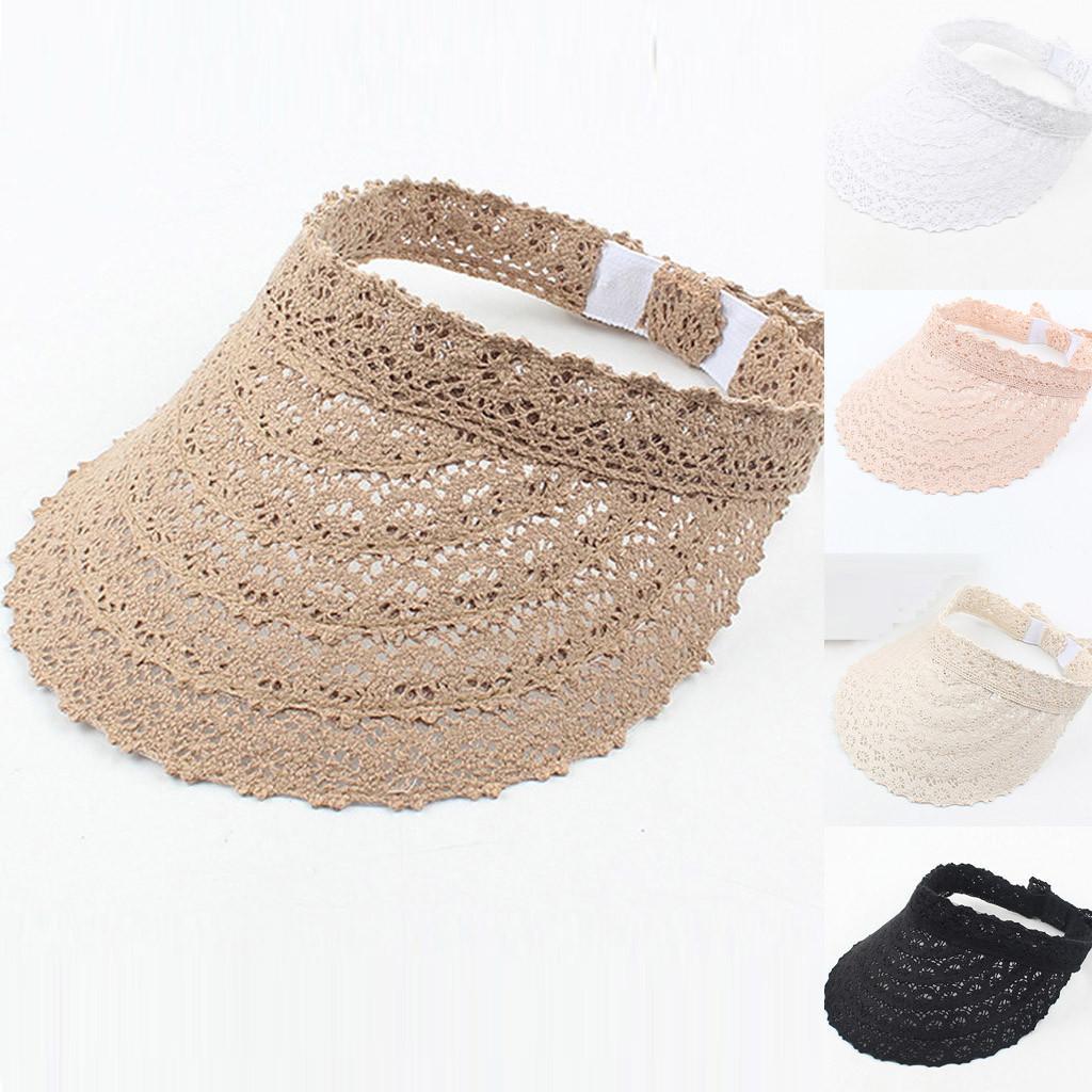Fashion Women Sun Lace Hat Wide Large Beach Caps UV Protection cap Summer Dress adjustable Ladies