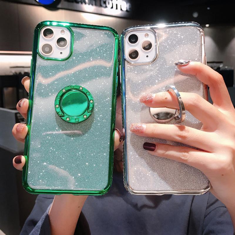 Glitzer-Diamant-Telefon-Hüllen für iPhone 12 13 11 PRO MAX X XS XR 8 7 PLUS Weiche Silikon-Magnet-Fingerring-Ständer-Rückseite