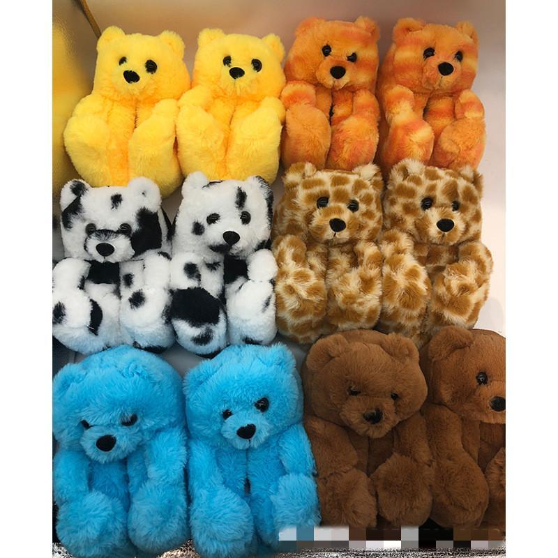 Çocuk Teddy Bear Terlik Çocuk Kabarık Peluş Slaytlar Sevimli Karikatür Ayı Rahat Düz Ev Ayakkabı Bebek Moda Çevirme