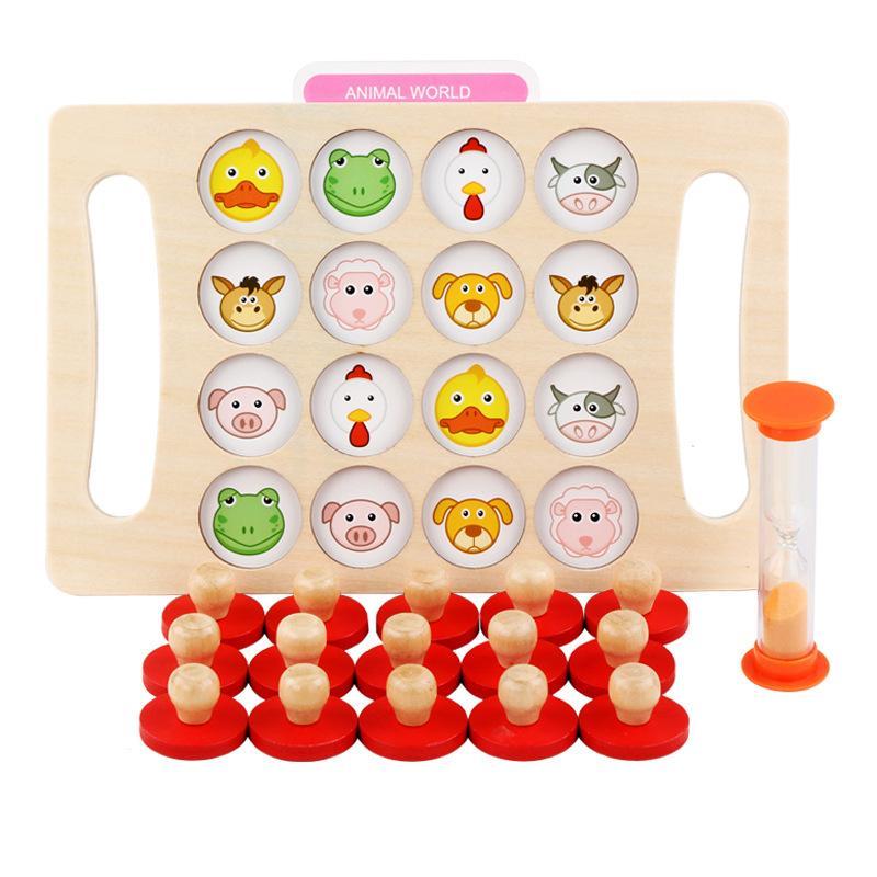 Memory Chess Acho do Animal Número Cognitivo Brinquedo Treinamento de Memória Brinquedos para Crianças 3 Anos Velho Educação Antecipada Montessori Brinquedos 210329
