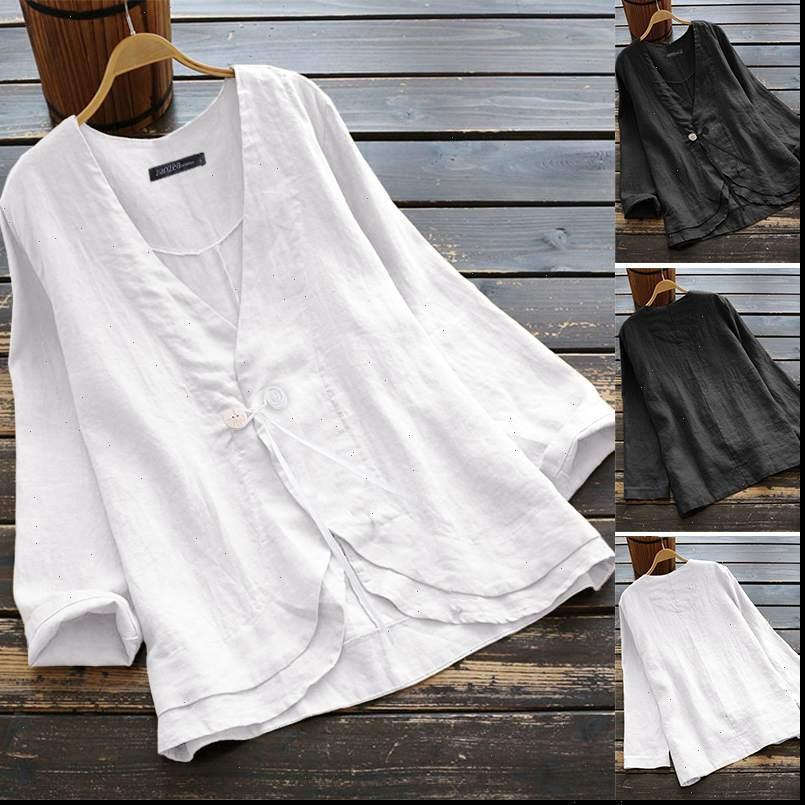 Womens Shirt V-Ausschnitt Button Cardigan Zanzea Bluse Baumwollhemden Arbeitsbüro Lady Tunika Tops Chemise Übergroßen Blusas Femininas