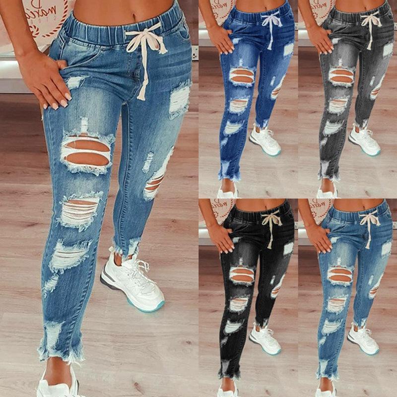 Calças de brim para mulheres cintura média rasgada calças jeans slim-fit lavados calças de lápis fino moda plus size roupas femininas