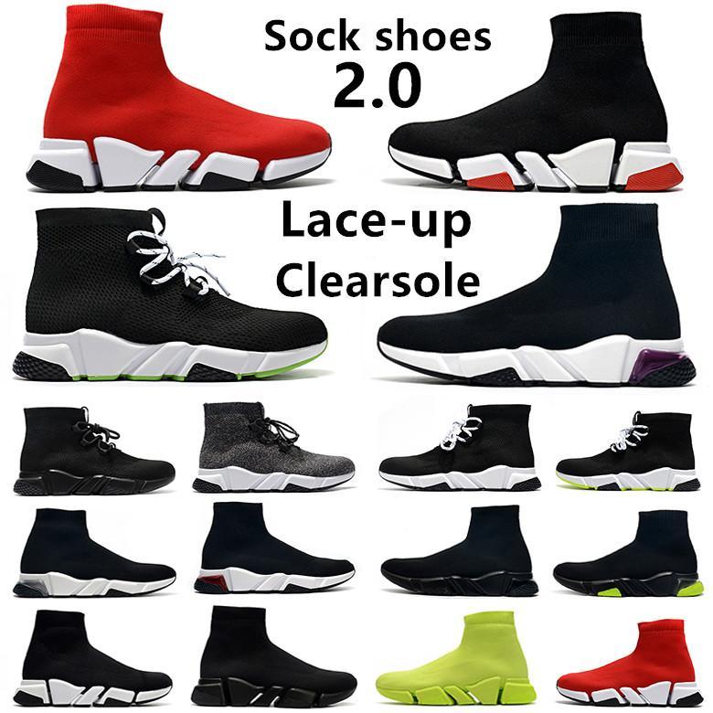 Sapatilhas Summer Sock 2.0 speed calçado casual masculino Clear Sole Lace-up triplo preto branco vermelho azul cinza masculino feminino tênis esportivo 36-45