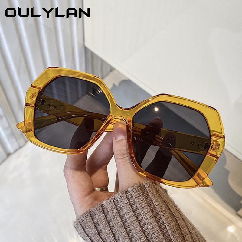 OULEYLAN Moda Polígono Óculos de Sol Mulheres Homens Retro Retro Sun Óculos De Sol Designer Eyewear Tending Products