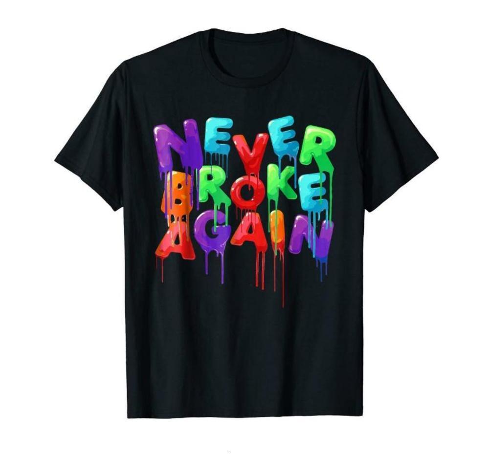 Noch nie wieder bunte bunte lustige schwarze T-shirt Neue Mode T-Shirt Marke Hip Hop Print Herren T-Shirt